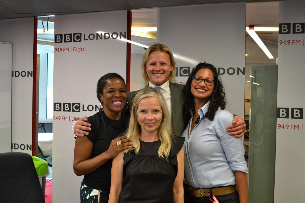"BBC Radio host Jo Good with (Left to Right) hair blogger, Valley Fontaine, BBC series ""Hair"" winner Phil Hunt and Radhika Dandeniya from ACurlerfulMind.co.uk"