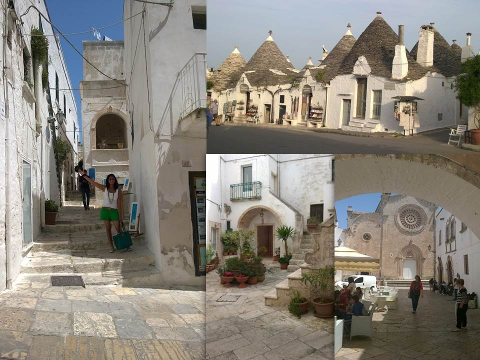 Left and bottom right: Ostuni; Top right: Alberobello; Bottom centre: Locorotondo