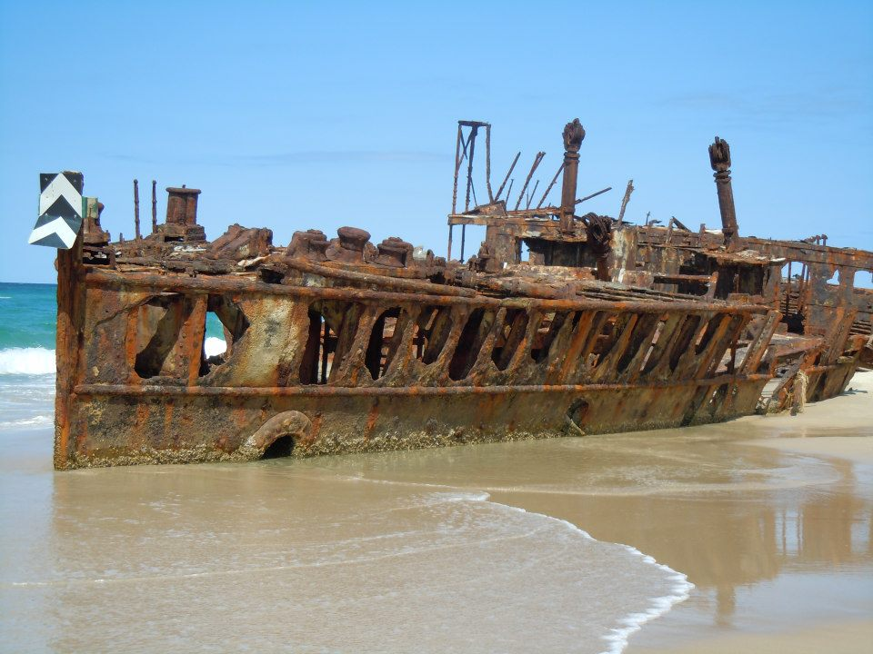 Maheno Shipwreck, Fraser Island:  Maheno Shipwreck; built in Scotland in 1905, this luxury cruise ship sailed between Sydney and Auckland. In 1935 while being towed to Japan the Maheno was struck by a out-of-season cyclone and washed ashore.